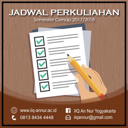 Jadwal Kuliah Semester Genap 2017/2018