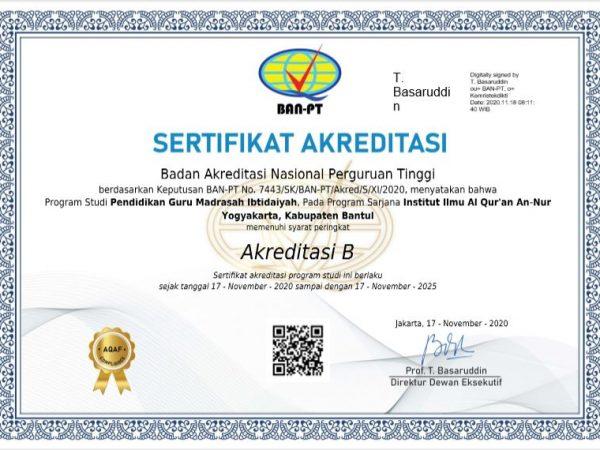 Akreditasi PGMI IIQ An Nur