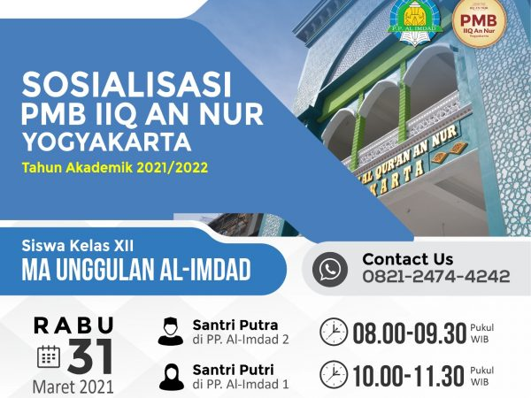 Sosialisasi Penerimaan Mahasiswa Baru (PMB) IIQ An Nur di MA Unggulan Al-Imdad Bantul